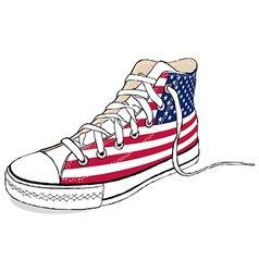 Hand draw modern sport shoes with usa flag vector