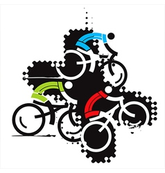 Cyclist on the grunge background vector