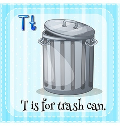Flashcard letter t is for trashcan vector