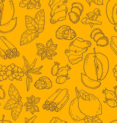 Seamless pattern with spices and berries vector