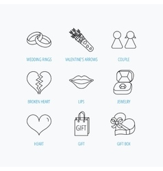 Love heart kiss and wedding rings icons vector