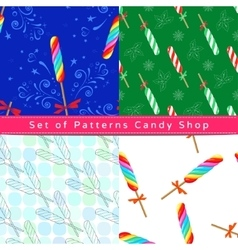 Seamless patterns with twist lollipop vector