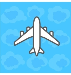 Plane on sky with clouds vector