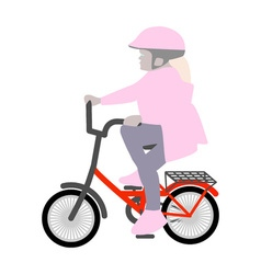 a little girl on a small bicycle helmet vector image vector image
