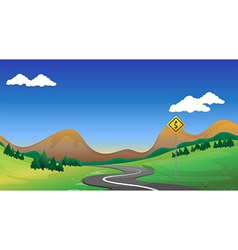 A road with a yellow signage vector image