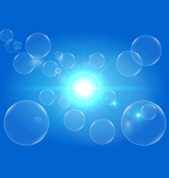 Abstract light and bubbles with blue color vector
