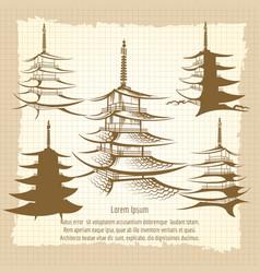 Asian pagoda vintage poster vector