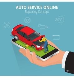 Auto repairing concept Auto service online Car vector image