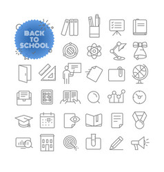 back to school outline icon set pictogram set vector image