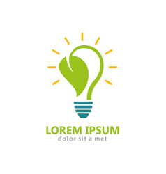 Bio energy leaf light bulb logo vector