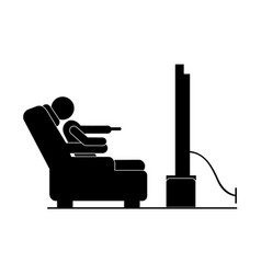 Black silhouette pictogram in chair watching tv vector
