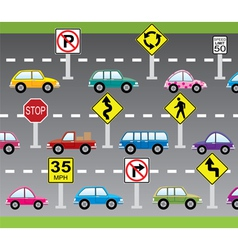 cars and road signs vector image vector image