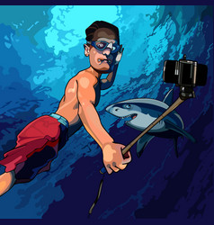 Cartoon man under the water taking pictures vector