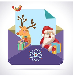 Christmas envelope with Santa Claus and deer with vector image vector image