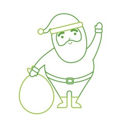 christmas happy santa claus waving hand with bag vector image