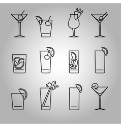 Cocktails line icons set vector image vector image