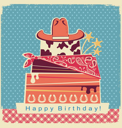 Cowboy happy birthday party card background with vector