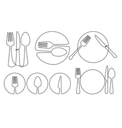 cultery and plate vector image
