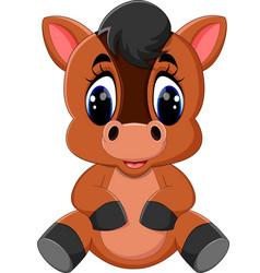 Cute cartoon brown horse vector