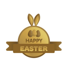 Easter gold label with ribbon bunny concept vector