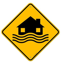 Flood Disaster Yellow Sign vector image