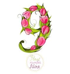Floral number nine vector image
