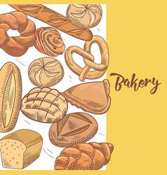 fresh bread hand drawn bakery design vector image