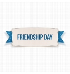 Friendship day banner with ribbon and shadow vector