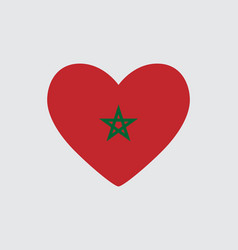 Heart in colors of the morocco flag vector