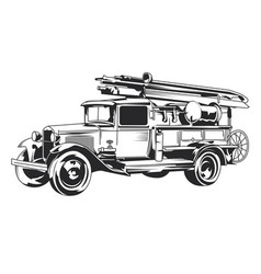 Isolated vintage fire truck vector