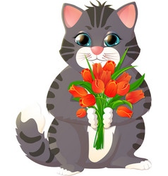 Kitten with a bouquet of flowers vector