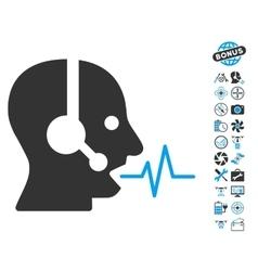 Operator Speech Icon With Copter Tools Bonus vector image