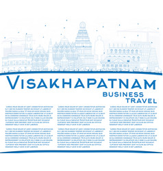 Outline visakhapatnam skyline with blue buildings vector