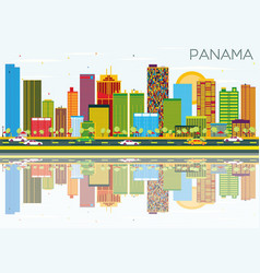 panama skyline with color buildings blue sky vector image