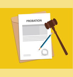 probation text on stamped paperwork vector image vector image