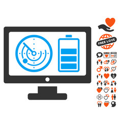 Radar battery control monitor icon with dating vector
