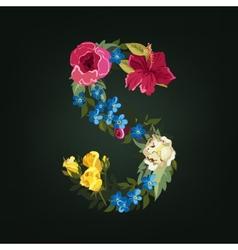 S letter Flower capital alphabet Colorful font vector image