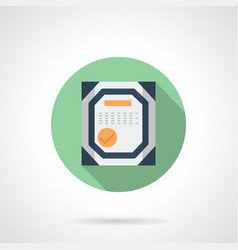 Workshop certificate flat round icon vector