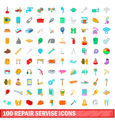 100 repair service icons set cartoon style vector image vector image