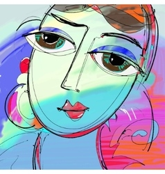 Beautiful women digital painting abstract vector