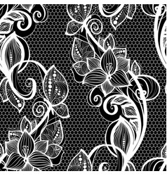 Seamless pattern white lace background old vintage vector