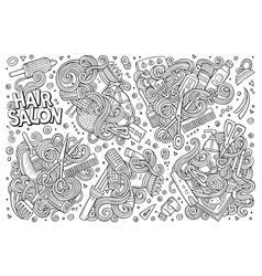 Cartoon set of hair salon theme doodles vector