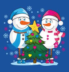 Lovers snowmen vector