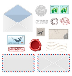 Air mail stam set vector