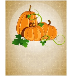 Pumpkins on a beige background vector image