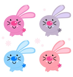 Cute colorful easter bunnies isolated on white vector image