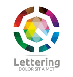 Logo abstract lettering q rainbow alphabet icon vector