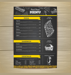 Vintage fast food menu design vector