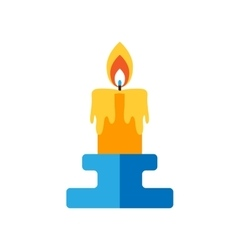 Candle burning candlestick flat vector