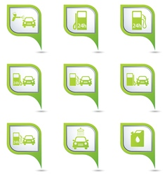 Set of 9 transport green pointer vector